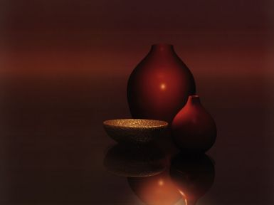 red-vases-with-bowl